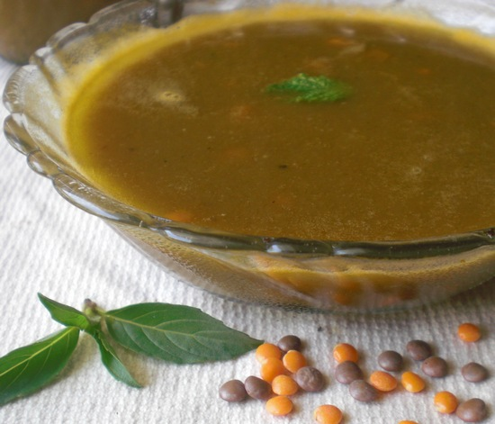 Whole lentil and mint soup