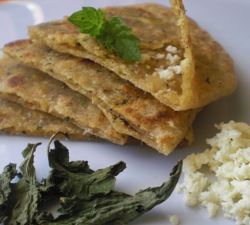 Minty Cottage cheese flat bread