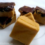 Nutty peanut butter fudge with caramel topping