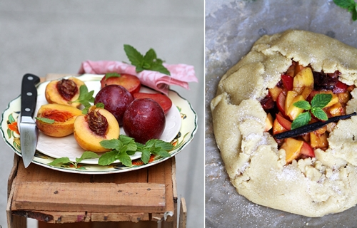 Peach & Plum Crostata an eggless bake