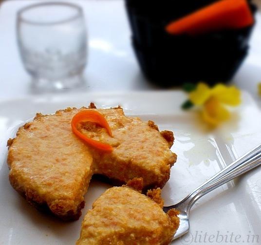 eggless carrot cheese cake