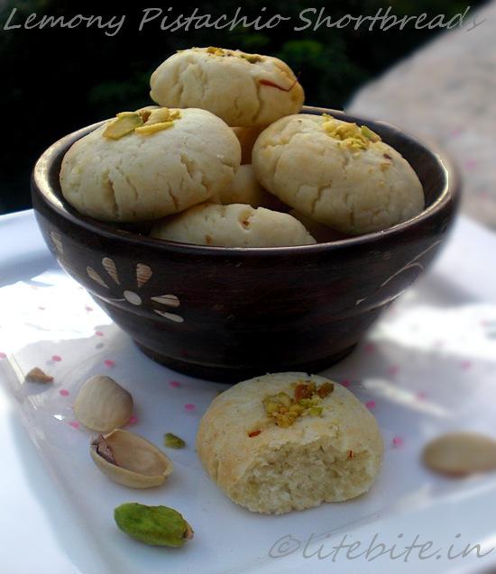 Lemony Pistachio Shortbread or Nankhatai