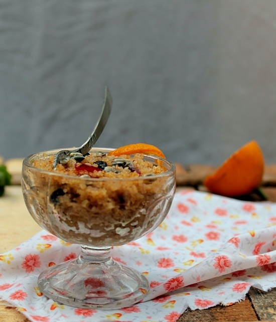 orange flavored couscous with passion fruit sauce, a healthy dessert