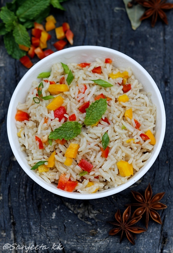 Recipe | Quick Fried Rice with Capsicum and Almonds – It's all Greek to me..